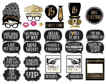 33 Funny Quinceañera Photo Booth Props - Gold and Black Theme - Funny Chalkboard Messages INSTANT DOWNLOAD - DIY Printable (High-Res Jpeg)