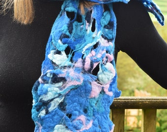 Blues & Pink Felted Scarf