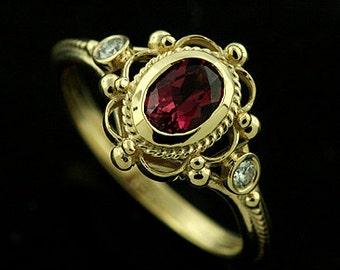 Oval Pink Tourmaline Ring, Victorian Style Engagement Ring, Bezel Set Diamond Ring, Twisted Swirl Design Ring, 18K Yellow Gold Filigree Ring