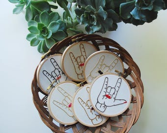 I Love You (American Sign Language Embroidery)