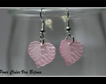 Earrings Kit and its leaf pink clear acrylic
