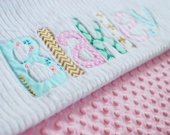 Monogrammed Baby Blanket in DAWN, Metallic Gold, Pink, and Aqua Blue Accents with White Chenille and Soft Minky, Personalized for Baby Girl