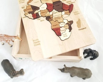 Montessori continent boxes - wooden map puzzle - waldorf- classical conversation- geography boxes - INDIVIDUAL BOXES