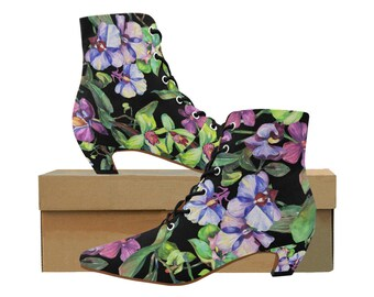 Victorian Orchid Print Granny Booties Langenlook Mori Girl Steampunk Style Ankle Boots Free Shipping