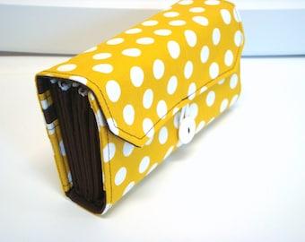 Cash Envelope Wallet   Dave Ramsey System  ZIPPER Envelopes Mustard Dots with Dark Brown