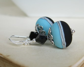 Into The Night  lampwork earrings in sterling silver with swarovski crystal LAST PAIR