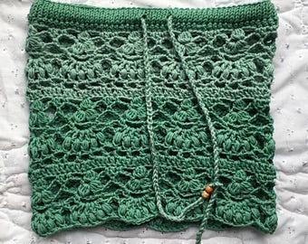 SALE Crochet Mini Pixie Skirt. Size S small. Shades of Green. Festival Wear. Summer Bikini Cover Up.