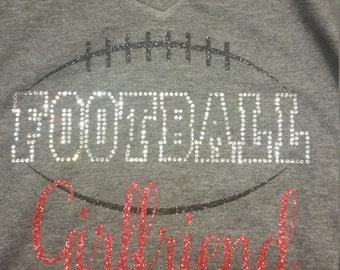 Football Girlfriend with Rhinestones and Glitter Shirt.
