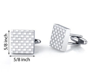 Stainless Steel Checkerboard Square Cuff-links