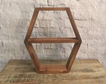 Geometric Rustic Wood Display Shelf