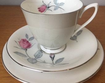 Royal Albert Grey Teacup Trio, Pink Rose Vintage Tea Cup, Saucer and Side Plate, Bone China, 1950s