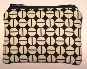 Handmade cotton coin purse - black & cream geometric circles