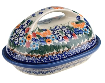 BCV Polish Pottery Hand Painted Stoneware, Ceramic Butter Dish with lid 331-U-099