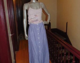 Long Gingham Blue White  Skirt