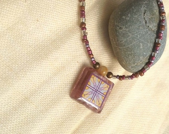 Spanish Tile, Lavender, Catalina Island Tile and Arts and Crafts Inspired Glass Beaded Necklacein Purple and Mustard Yellow Wanderluster