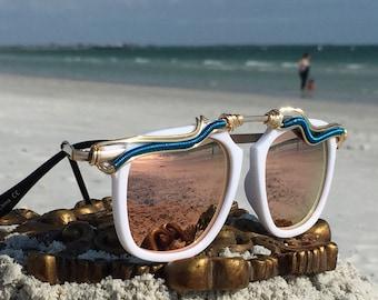NEW Style!! White wayfarer SunGlasses, Gold Wire Wrapped, Unisex Mens Women's Sunglasses, Hippie Boho Gypsy Festival Outfit Costume Sunglass