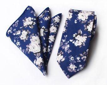 Blue Floral Skinny Tie & Pocket Square | floral tie | flower tie | skinny tie | wedding tie | wedding ideas | ideas | groom | white wedding