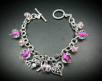 Breast Cancer Awareness Charm Bracelet Pink Beaded Fashion Jewelry