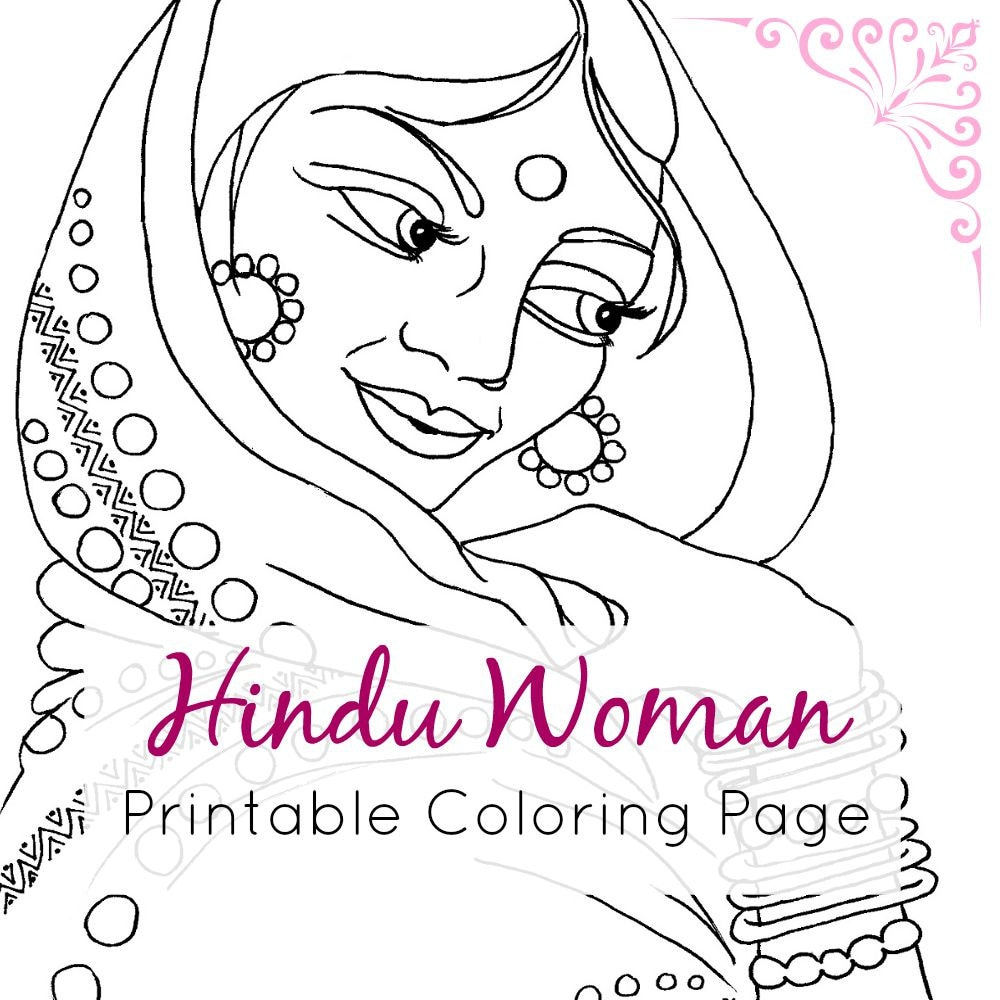 Indian Coloring Page Hindu Woman Portrait Line Art