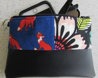 Vegan Leather Clutch - Red and Floral Fox Handbag - Fox Gift