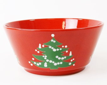 "Waechtersbach Serving Bowl 9"" Red Christmas Tree, Germany"