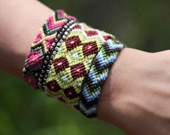 Boho Bracelet, Friendship Bracelet, Braid Bracelet, Woven Bracelet whole set of 4 on the pictures