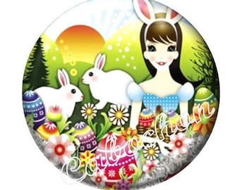 1 cabochon 30mm glass cabochon Easter egg Bunny image shown