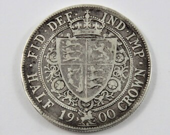 Great Britain 1900 Sterling Silver Half Crown Coin.