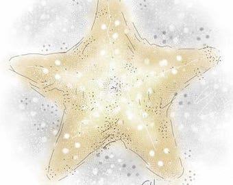 Mounted starfish print // starfish print // starfish decor // nautical decor // nautical print // nautical nursery decor // nautical gift