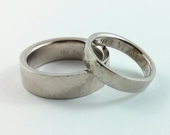 Sturdy Wedding Band -18kt White Gold Palladium Alloy - 6 mm width/2 mm thickness - Hammered Textured - Comfort Fit - Custom Engraving Inside