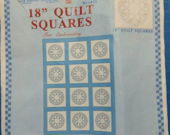 """Jack Dempsey Needle Art 18"""" Quilt Blocks for Hand Embroidery Starburst of Hearts (#45)"""