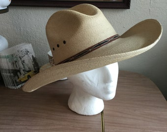 "Vintage style genuine palm leaf western traditional style ""cowboy"" hat (A390)"