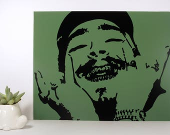 Post Malone Money Green Portrait Pop Art Stencil Graffiti // Fine Art Wall Prints for Home Decor