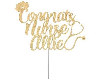 Nurse Graduation Cake Topper, Graduation Cake Topper, Nurse Graduation Banner,Class of 2017,Photo Prop,Custom School Colors,Graduation Decor