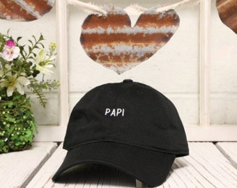 New PAPI Baseball Hat Embroidered Low Profile cap Curved Bill Black
