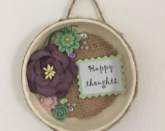 Happy  Thoughts purple and green floral wall decoration .