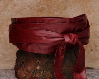 Oxblood leather Obi wrap belt, red leather belt  - Sash-a