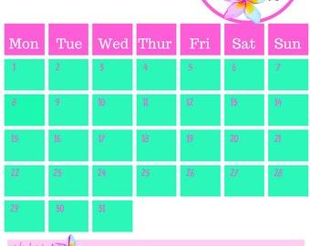 October 2018 Printable Calendar A4 Toucan
