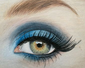 Eye Drawing Colored Pencil Original