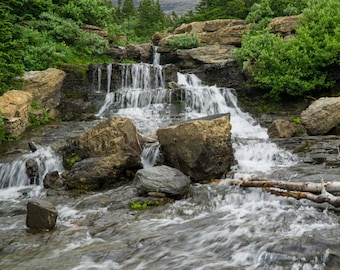 Graceful Waterfall Landscape Fine Art Photo Print - Glacier National Park, peaceful swirling water, inspiring nature