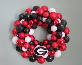 GEORGIA BULLDOGS Ornament Wreath Team Wreath Red Black White