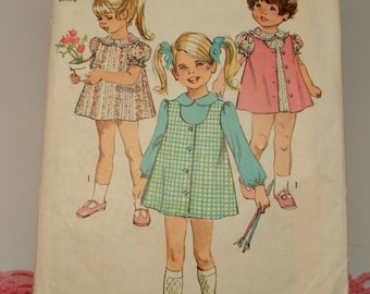 Vintage Sewing Pattern Simplicity 8619 Size 2 Child Slip Dress and Jumper Cut from 1969