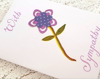 Sympathy Card, With Sympathy, Handmade card, painted, Flower card, Beautiful Garden Card, Card Selection, 3 for 5 pounds, for loss, grief