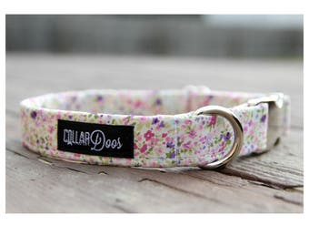 """White Pink Purple Floral Silver Chrome Collar Leash XS, Small Medium Large-""""Dainty Floral"""""""