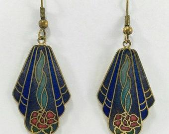 Blue dangle earrings, flower earrings, enamel earrings, vintage 80s