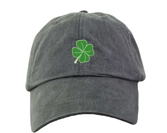 Four leaf clover Hat.  Baseball Hat. Cool Mesh Lining & Adjustable Strap. 33 Colors Avail. HER-LP101