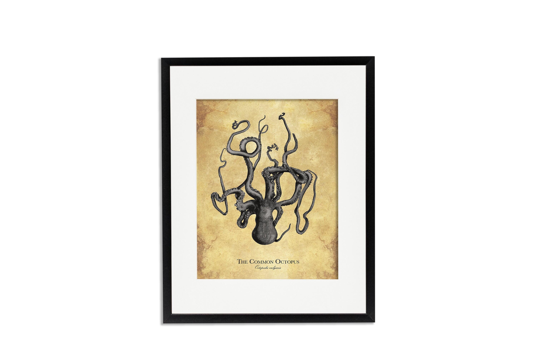 Gunmetal Octopus on a Vintage Background Art Print or Poster