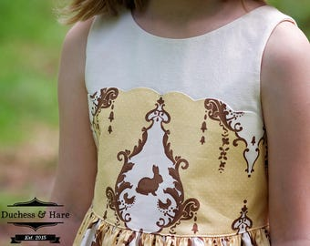 Petit Four:  V back dress with scallops and apron pdf pattern sizes 2-12