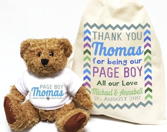 Page Boy wedding day gift personalised teddy bear with matching gift bag | Thank you mini usher favor.