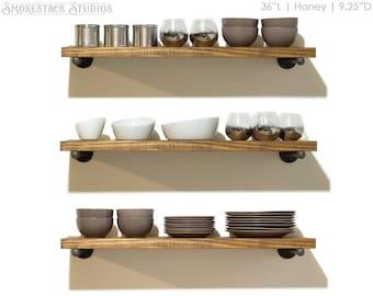 Rustic Floating Shelves, Pipe Bracket Shelves, Open Kitchen Shelves, Farmhouse Kitchen, Laundry Room Shelves